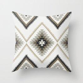 Beige Aztec Throw Pillow