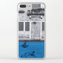 Two cats in blue Clear iPhone Case