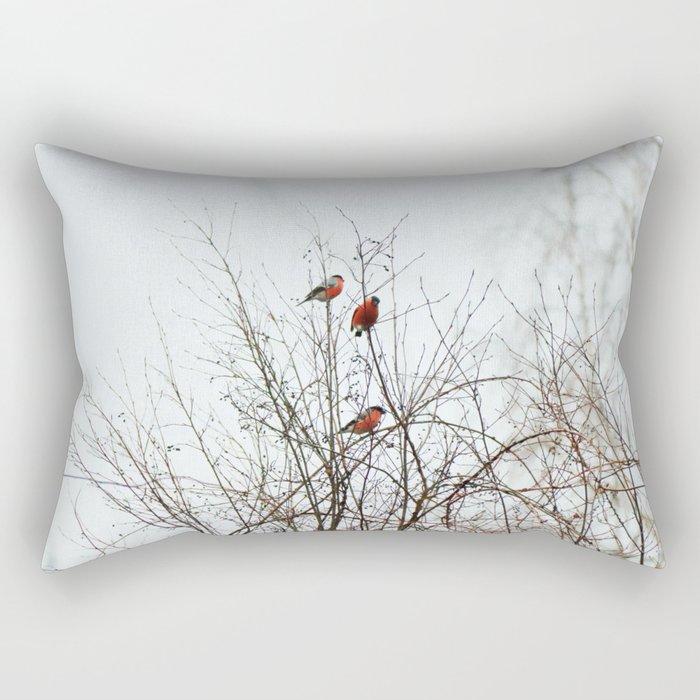 Bullfinches in bush Rectangular Pillow