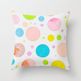 Colored Circles Abstract Sketch , Colorful Sketch, Children Drawing, Doodle Illustration, Wall Art Throw Pillow