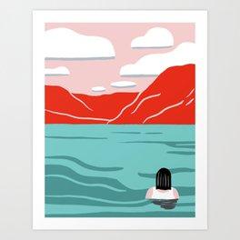 Red mountain lakeside retreat Art Print