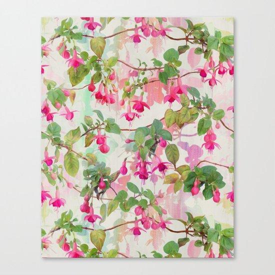 Rainbow Fuchsia Floral Pattern Canvas Print