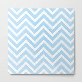 Chevron Stripes : Blue & White Metal Print