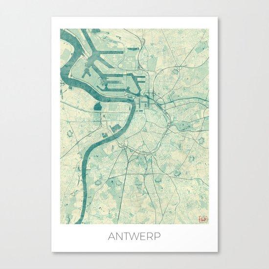 Antwerp Map Blue Vintage Canvas Print