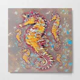 PUTTY GREY & GOLD SEA HORSES BEACH ART Metal Print