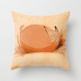 Zen Brush peace cat Throw Pillow