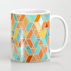 Tangerine & Turquoise Geometric Tile Pattern Mug