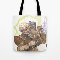 lab Tote Bags featuring Necromancer's Lab by Sean Greenberg Illustration