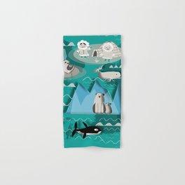 Arctic animals teal Hand & Bath Towel