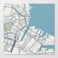 boston map Canvas Prints featuring Boston Map by Sophie Calhoun