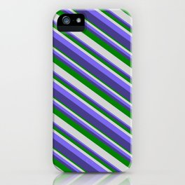 Green, Light Gray, Medium Slate Blue, and Dark Slate Blue Colored Striped Pattern iPhone Case