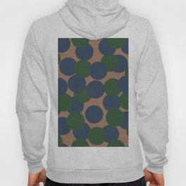 Green and Blue Dots on Salmon Hoody
