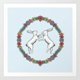 Fighting Hares Art Print