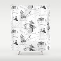pride and prejudice Shower Curtains featuring Pride and Prejudice Toile by Aimee Steinberger