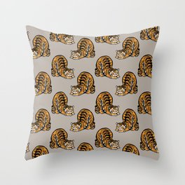 Tiger Stretching Throw Pillow