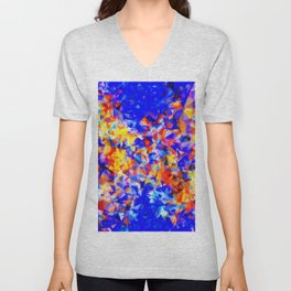 psychedelic geometric triangle abstract pattern in blue orange yellow Unisex V-Neck