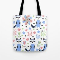 racoon Tote Bags featuring Racoon pattern  by luizavictoryaPatterns