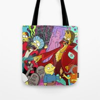 simpsons Tote Bags featuring Simpsons Halloween Bonanza by Laura Von Burns