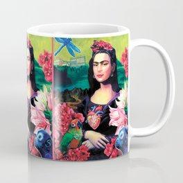 "Frida Kahlo Series by Michael Cuffe - ""Mona Kahlo Frida Lisa"" Coffee Mug"