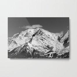 Mt. Blanc with cloud (Mono) Metal Print