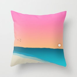Beach Sunset with birds 2 Throw Pillow