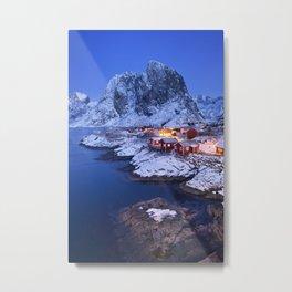 Norwegian fisherman's cabins on the Lofoten at dawn in winter Metal Print