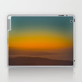 Pretty Pastel Yellow Red Green Sunset With Lone Pine Tree Silhouette Laptop & iPad Skin