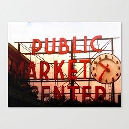Public Market Center - Pike's Place Market Seattle, Washington USA Canvas Print