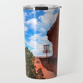 Disc Golf Basket in Moab Utah Travel Mug