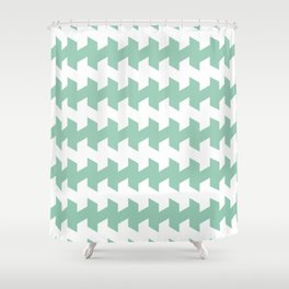 jaggered and staggered in grayed jade Shower Curtain