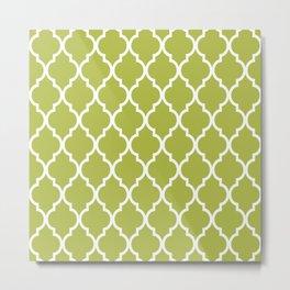 Classic Quatrefoil Lattice Pattern 731 Olive Green Metal Print