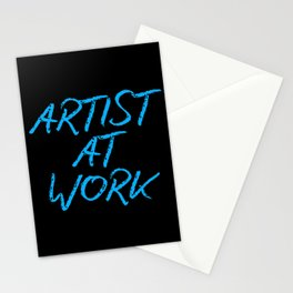 Artist at Work (blue) Stationery Cards