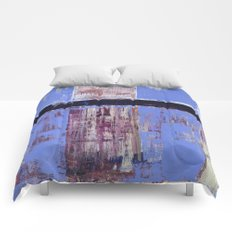 Chagrin Cornflower Blue Abstract Painting Modern Art Comforters