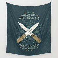 philosophy Wall Tapestries featuring That which does not kill us makes us stronger by Beardy Graphics