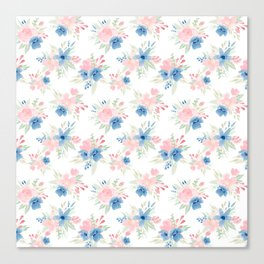 Blush Pink and Navy Watercolor Florals Canvas Print