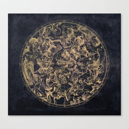 Vintage Constellations & Astrological Signs   Yellowed Ink & Cosmic Colour Canvas Print