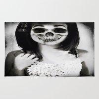 rockabilly Area & Throw Rugs featuring rockabilly skull portrait by Joedunnz