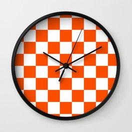 Checkered - White and Dark Orange Wall Clock