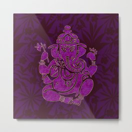 Ganesha Elephant God Purple And Pink Metal Print