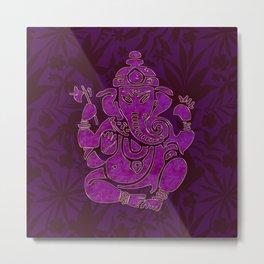 Ganesha Elephant God Purple And Pink Metal Print