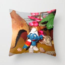 Smurf Ice Cream Throw Pillow