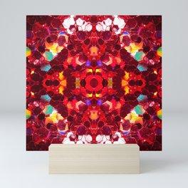 Red abstract mosaic shiny glitter pattern Mandala Mini Art Print