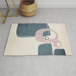Retro Abstract Design in Shell Pink and Teal Rug