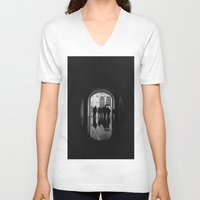 mirror V-neck T-shirts featuring Mirror by KHINITO