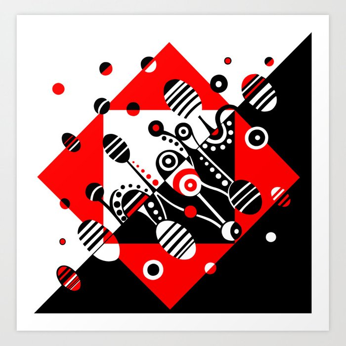 MICROGRAVITY - RED & BLACK Art Print