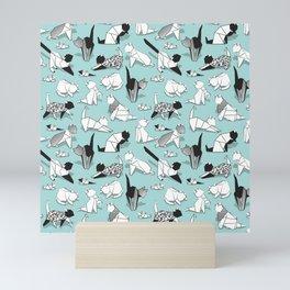 Origami kitten friends // aqua background paper cats Mini Art Print