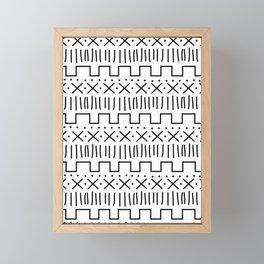 White + Black Mud Cloth Framed Mini Art Print