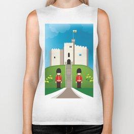 Cardiff, Wales - Skyline Illustration by Loose Petals Biker Tank