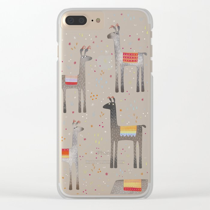 Llamas in the Meadow Clear iPhone Case