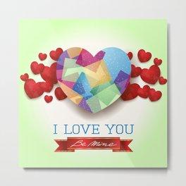 Love heart in green Metal Print